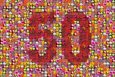 thaousands of photos make a mosaic picture of the number 50の写真素材 [FYI00802073]