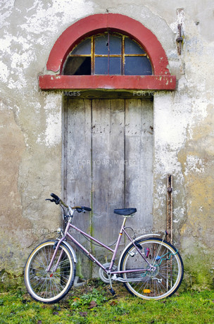 old wooden door with bicycleの素材 [FYI00802270]