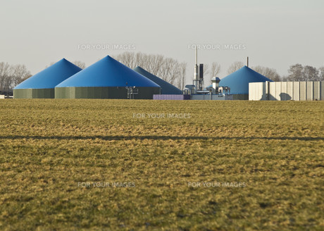 biogas plant with wind turbinesの素材 [FYI00802507]