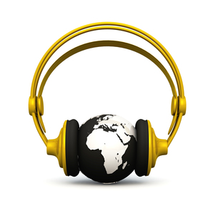 3d - music 4 the world - gold silverの写真素材 [FYI00802794]