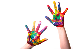 two colorful hands with copy spaceの写真素材 [FYI00803842]