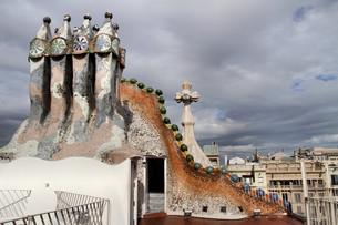 casa batllo,barcelona,\u200b\u200broof gardenの写真素材 [FYI00804195]
