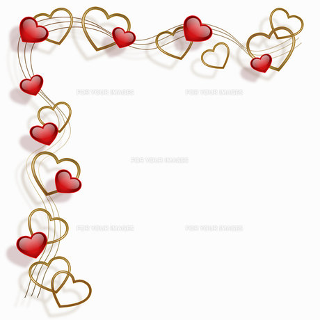 heart frame red goldの写真素材 [FYI00804346]