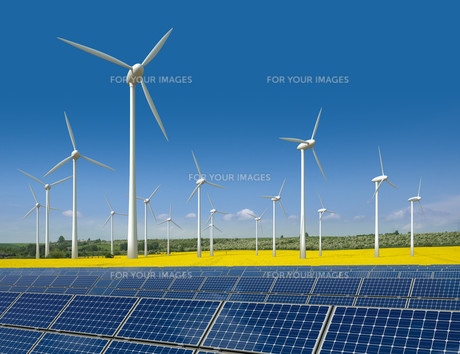 wind turbines and solar panels in a rapeseed fieldの写真素材 [FYI00805159]