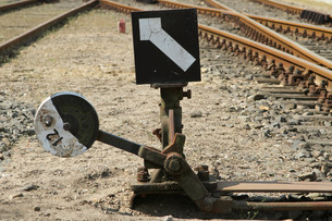 hand-operated railroad switchの写真素材 [FYI00806303]
