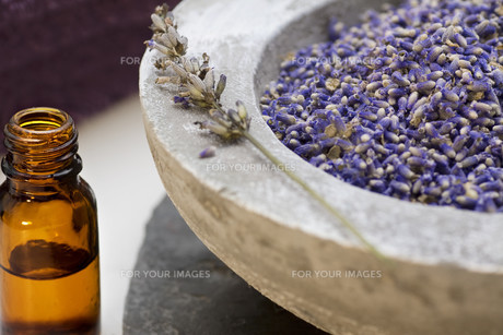wellness care products with lavender seeds and oilの写真素材 [FYI00806927]