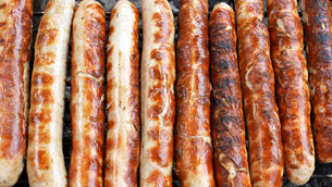 thuringian sausages - grilled sausagesの写真素材 [FYI00806946]