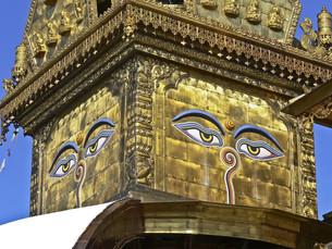 nepal temple with eyeの写真素材 [FYI00806998]