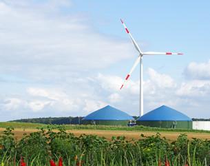 alternative energy - biogas & wind powerの写真素材 [FYI00807325]