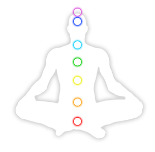 man silhouette with seven chakras 01の写真素材 [FYI00809058]