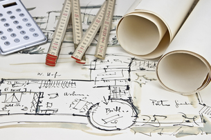 the blueprint of a houseの写真素材 [FYI00810339]