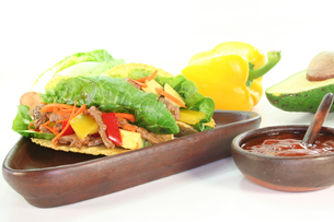 mexican tacos with beefの写真素材 [FYI00811190]