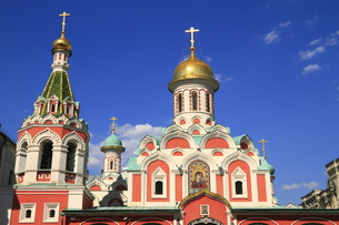 the kazan cathedral on red square in moscow,russiaの写真素材 [FYI00813803]