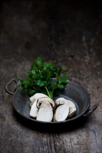 slices of porcini mushrooms in a panの写真素材 [FYI00816214]