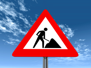 traffic signs constructionの写真素材 [FYI00824192]