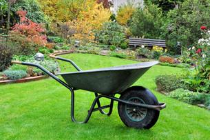 garden cart in autumnal gardenの写真素材 [FYI00824226]
