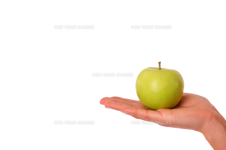 green apple in woman's handの写真素材 [FYI00824470]