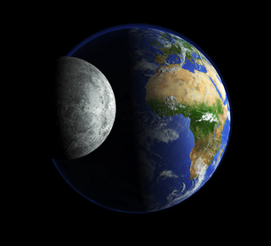 our earth and the moonの写真素材 [FYI00828059]