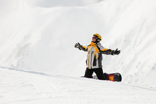 snowboarder in the snowの素材 [FYI00829253]