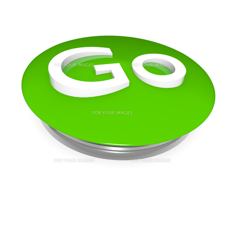 go green button on white,3d imageの写真素材 [FYI00830528]