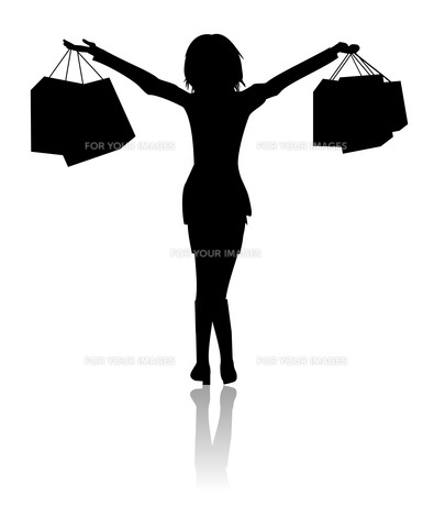 happy woman with bags - shoppingの素材 [FYI00830726]