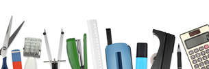 a collage of office supplies on a white surfaceの写真素材 [FYI00831391]