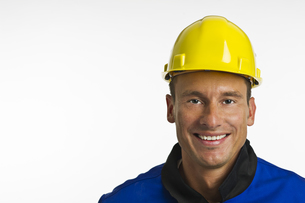 construction worker with head protectionの写真素材 [FYI00831964]