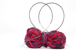 wool with knitting needleの素材 [FYI00832577]