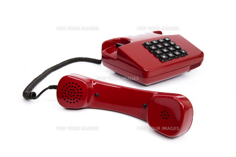 classic red telephone from the eightiesの写真素材 [FYI00833362]