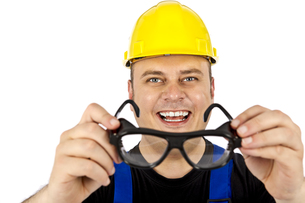 construction worker with head protectionの写真素材 [FYI00835413]