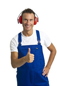 workers with hearing protectionの写真素材 [FYI00835438]