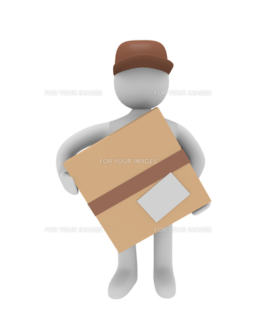 cheerful parcel deliverer isolated on white,3d imageの写真素材 [FYI00835585]