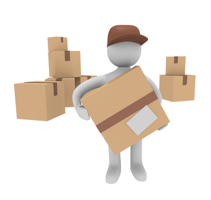 3d man with cardboard boxesの写真素材 [FYI00835790]