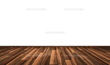 white wall with wooden floor - oak copperの写真素材 [FYI00835984]