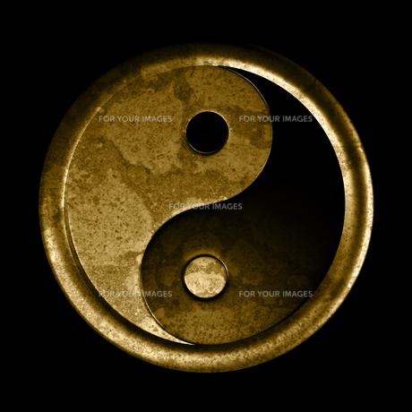 yin and yang symbol - grunge effectの素材 [FYI00836223]