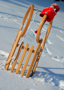 sled in the snow in winterの写真素材 [FYI00836339]