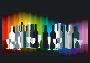 colored bar with bottles and glasses on blackの写真素材 [FYI00840659]