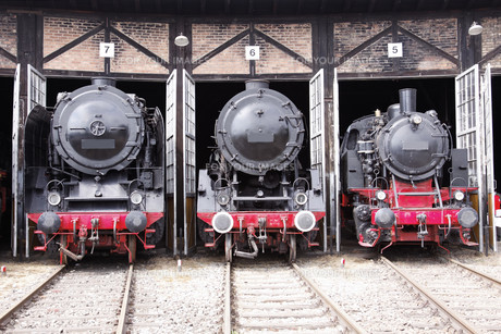 roundhouse with steam locomotivesの写真素材 [FYI00841060]