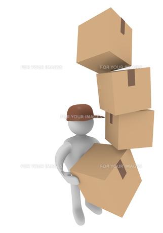 parcel deliverer,3d imageの写真素材 [FYI00842060]
