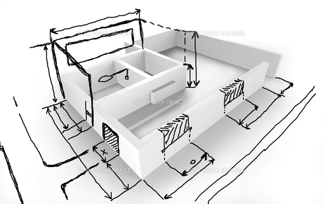 house concept - idea - design drawingsの写真素材 [FYI00842120]