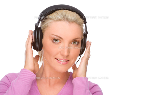 woman with headsetの写真素材 [FYI00843419]