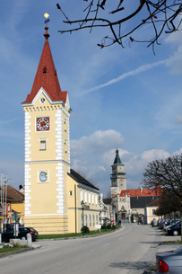 wallsee (town hall and castle)の写真素材 [FYI00843501]