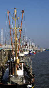 the fishing harbor in cuxhaven,germanyの写真素材 [FYI00843622]
