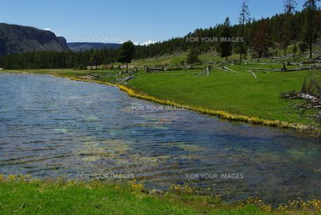lake in yellowstone national park,wyomingの写真素材 [FYI00843848]