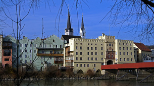 view of wasserburg am inn,historic old townの写真素材 [FYI00844752]