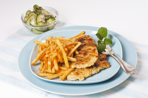 fish fillet with fries on blue plateの素材 [FYI00845962]