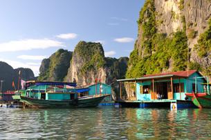 fishing village,halong bayの写真素材 [FYI00845976]