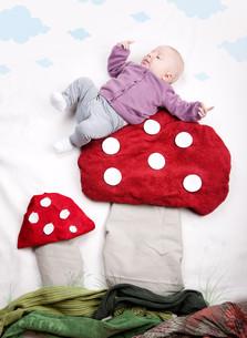 baby on toadstoolの写真素材 [FYI00847280]