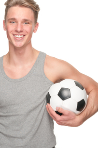 young man with a soccer ballの写真素材 [FYI00855325]