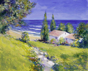 house near the sea - paintingの写真素材 [FYI00856956]
